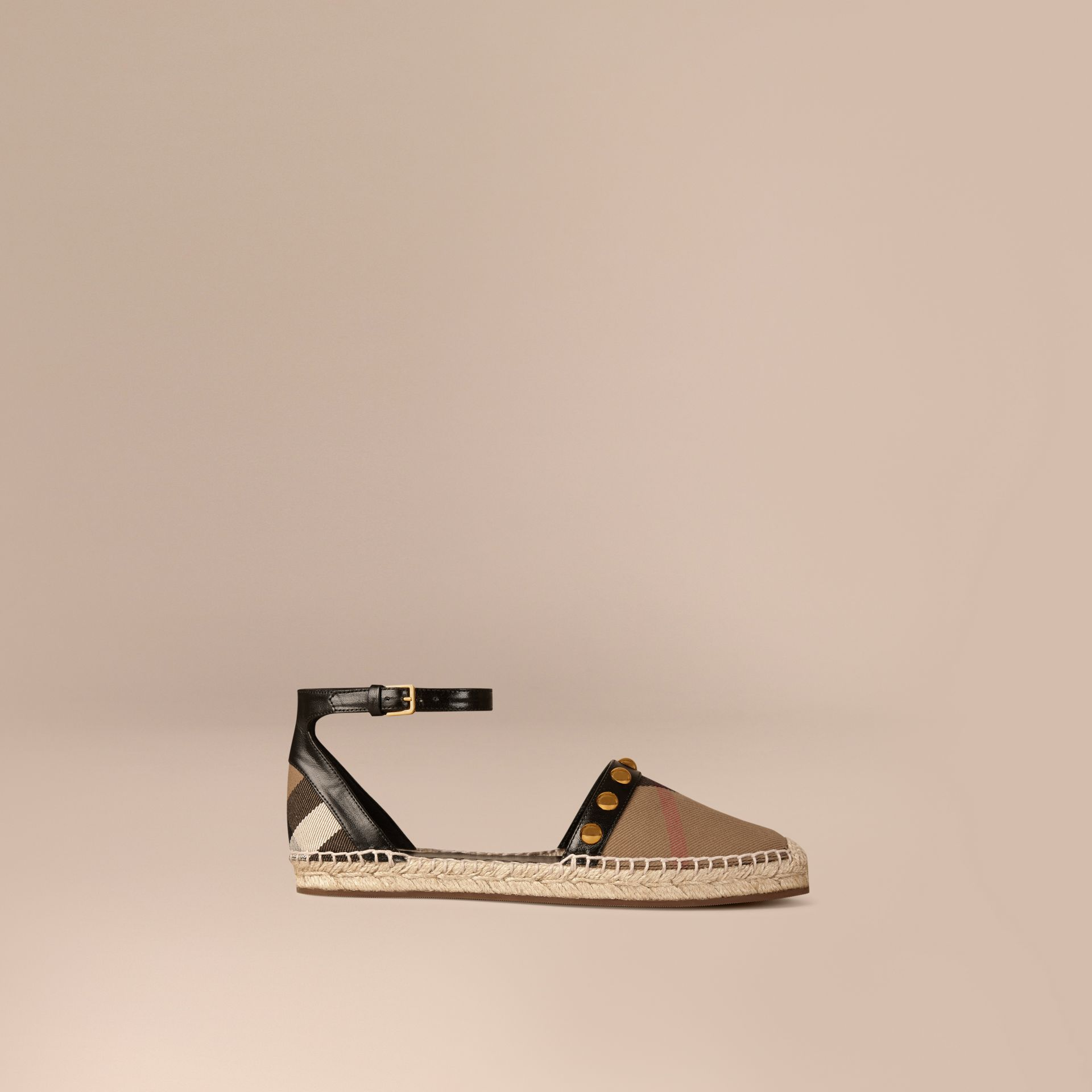 Black Studded Leather and House Check Espadrille Sandals - gallery image 1