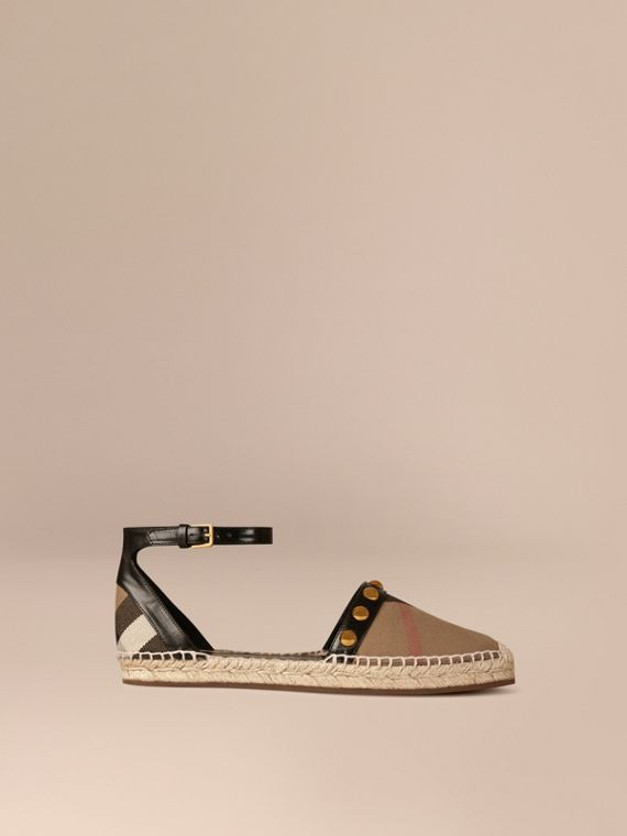 Studded Leather and House Check Espadrille Sandals