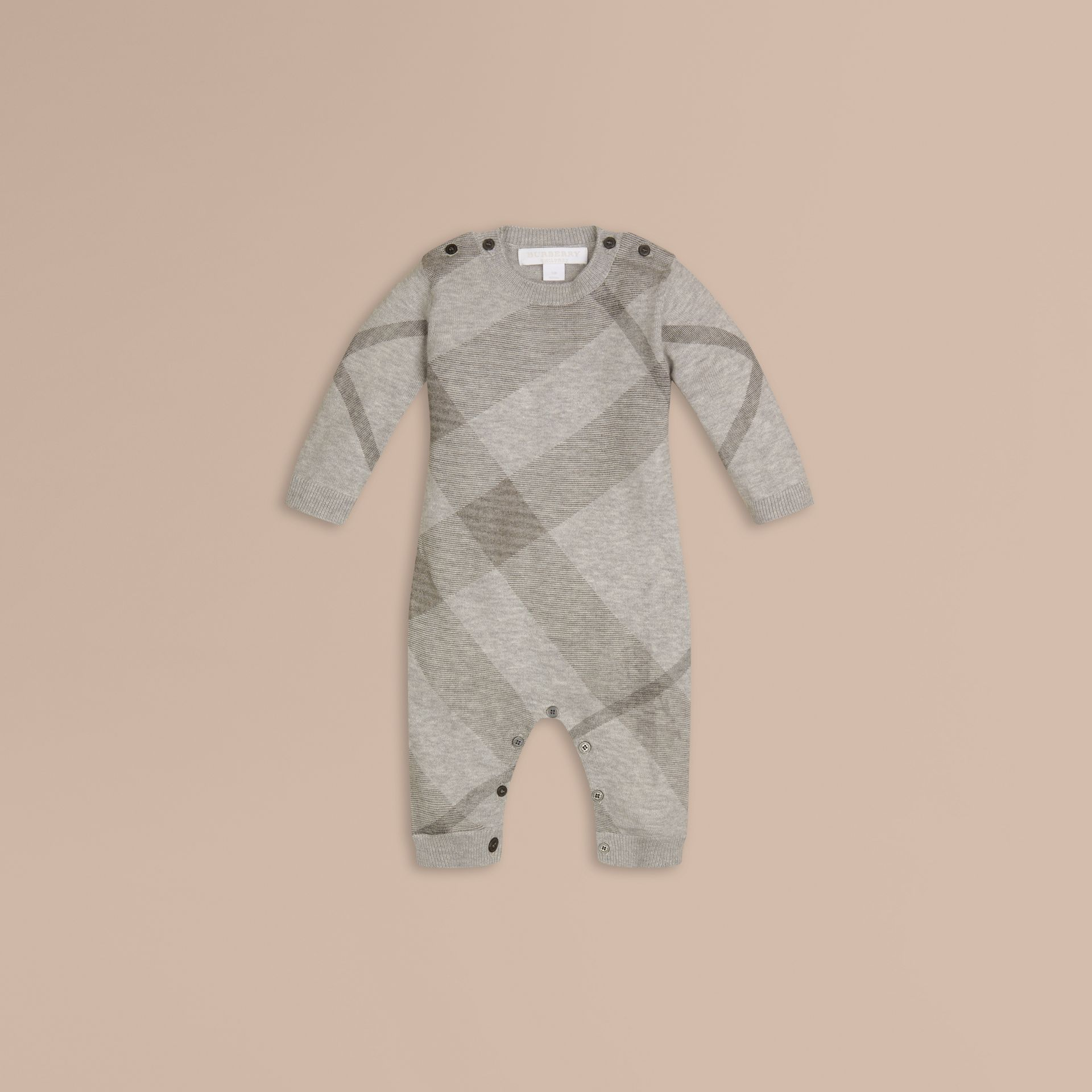 Pale grey melange Check Cashmere Cotton Jumpsuit - gallery image 1