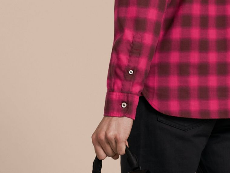 Bright rose Gingham Check Cotton Shirt Bright Rose - cell image 4