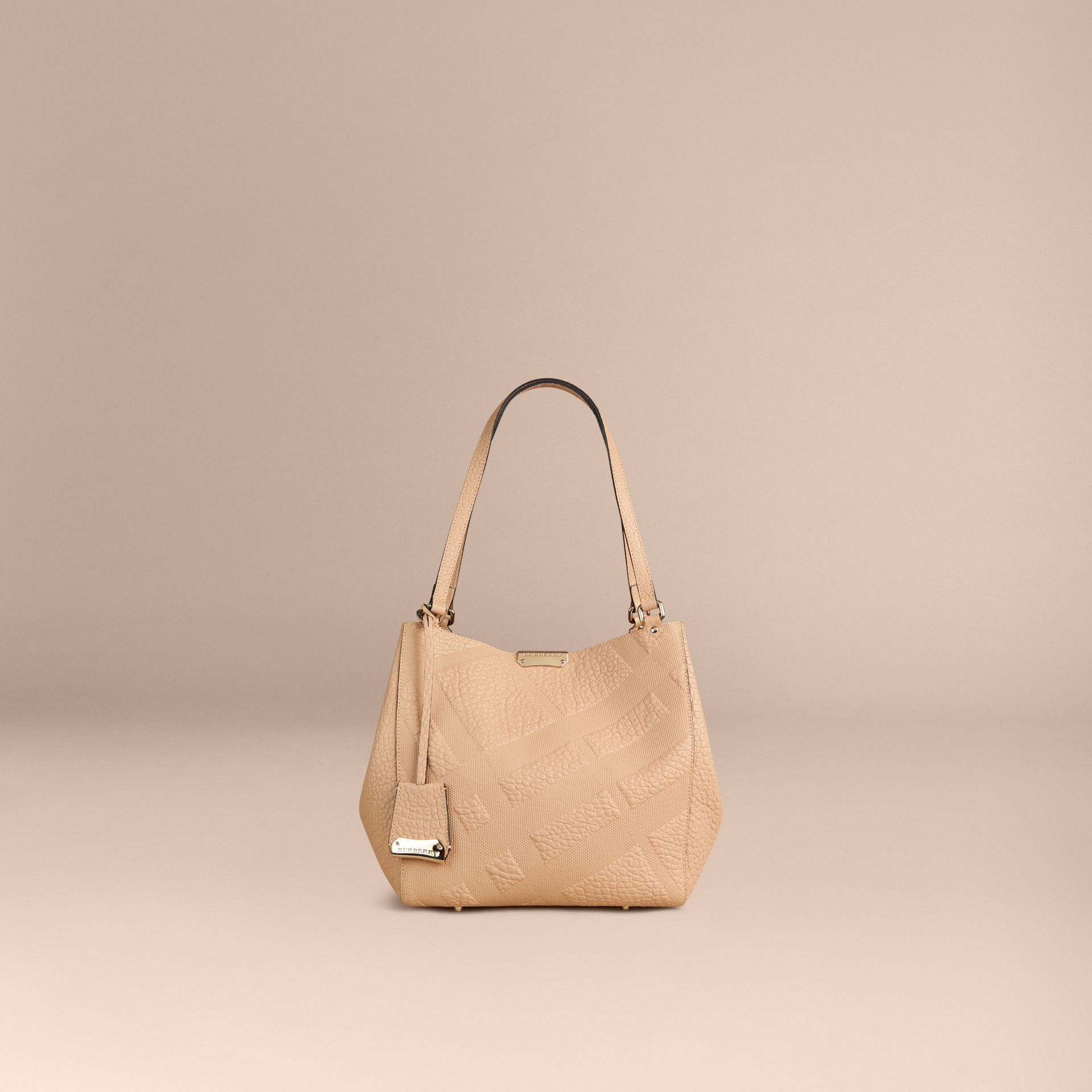 Pale apricot The Small Canter in Embossed Check Leather Pale Apricot - gallery image 3