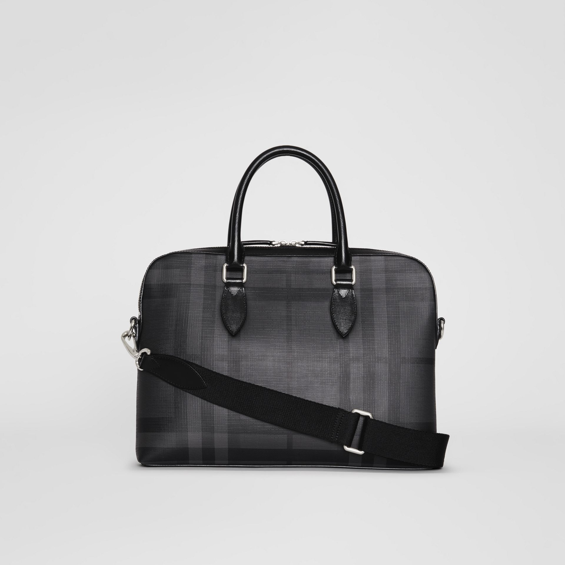 Medium Leather Trim London Check Briefcase in Charcoal/black - Men | Burberry Australia - gallery image 7