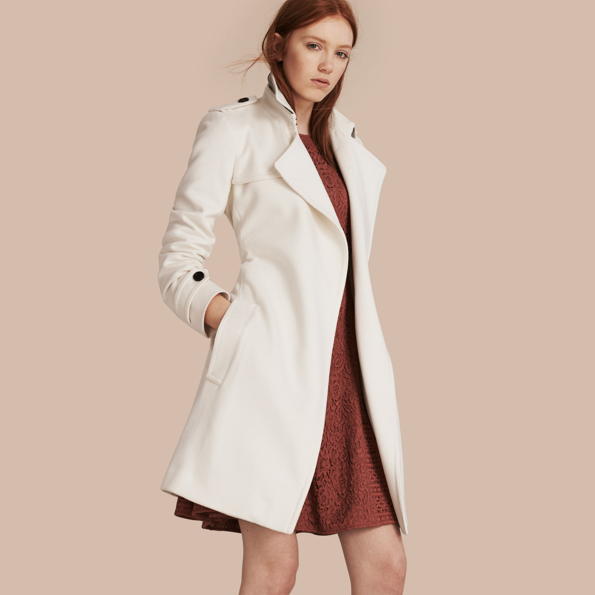 White Cashmere Wrap Trench Coat White - gallery image 1