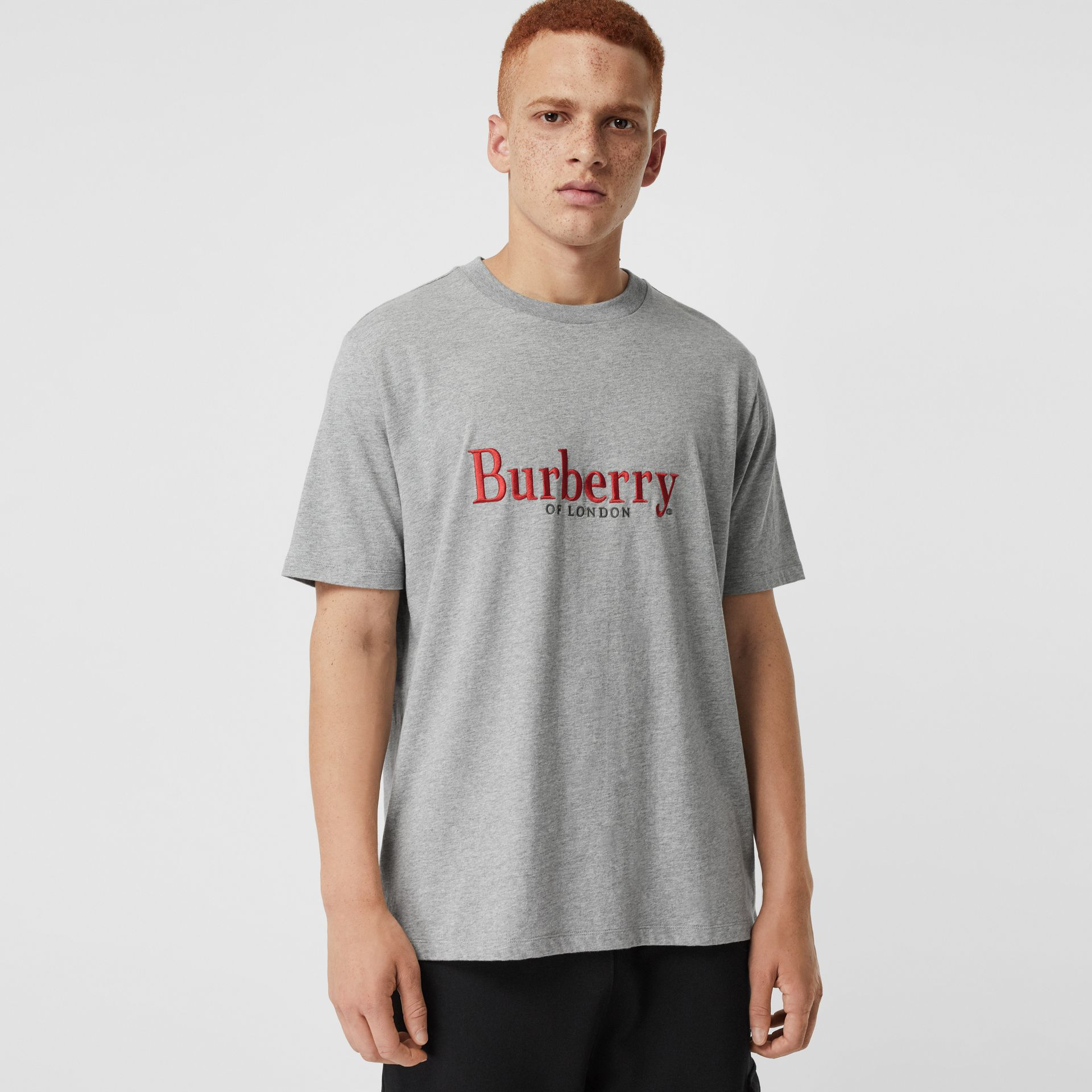 Embroidered Archive Logo Cotton T-shirt in Pale Grey Melange - Men | Burberry - gallery image 0