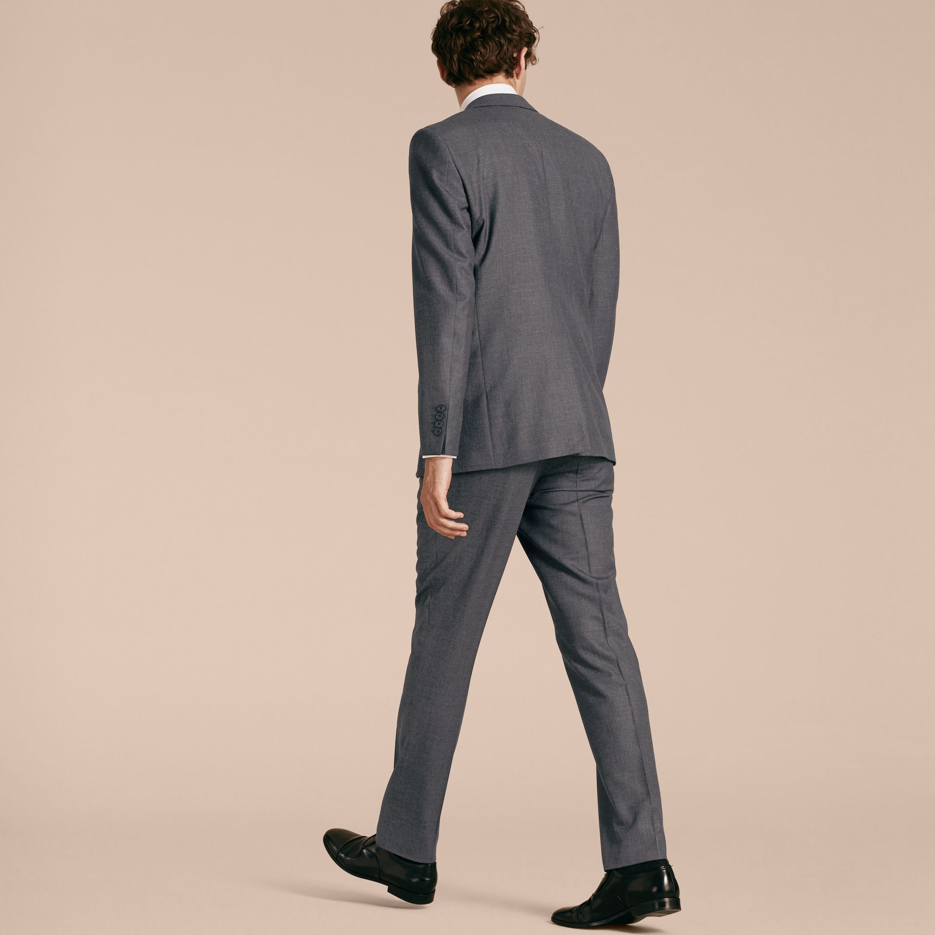 Modern Fit Wool Part-canvas Suit in Charcoal - gallery image 3