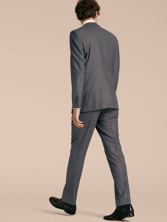 Modern Fit Wool Part-canvas Suit in Charcoal - cell image 2
