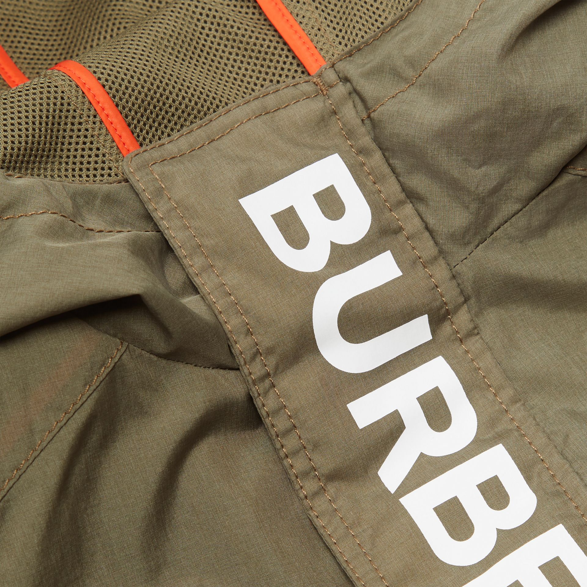 Logo Print Lightweight Hooded Jacket in Military Green | Burberry - gallery image 1