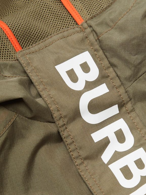 Logo Print Lightweight Hooded Jacket in Military Green | Burberry - cell image 1