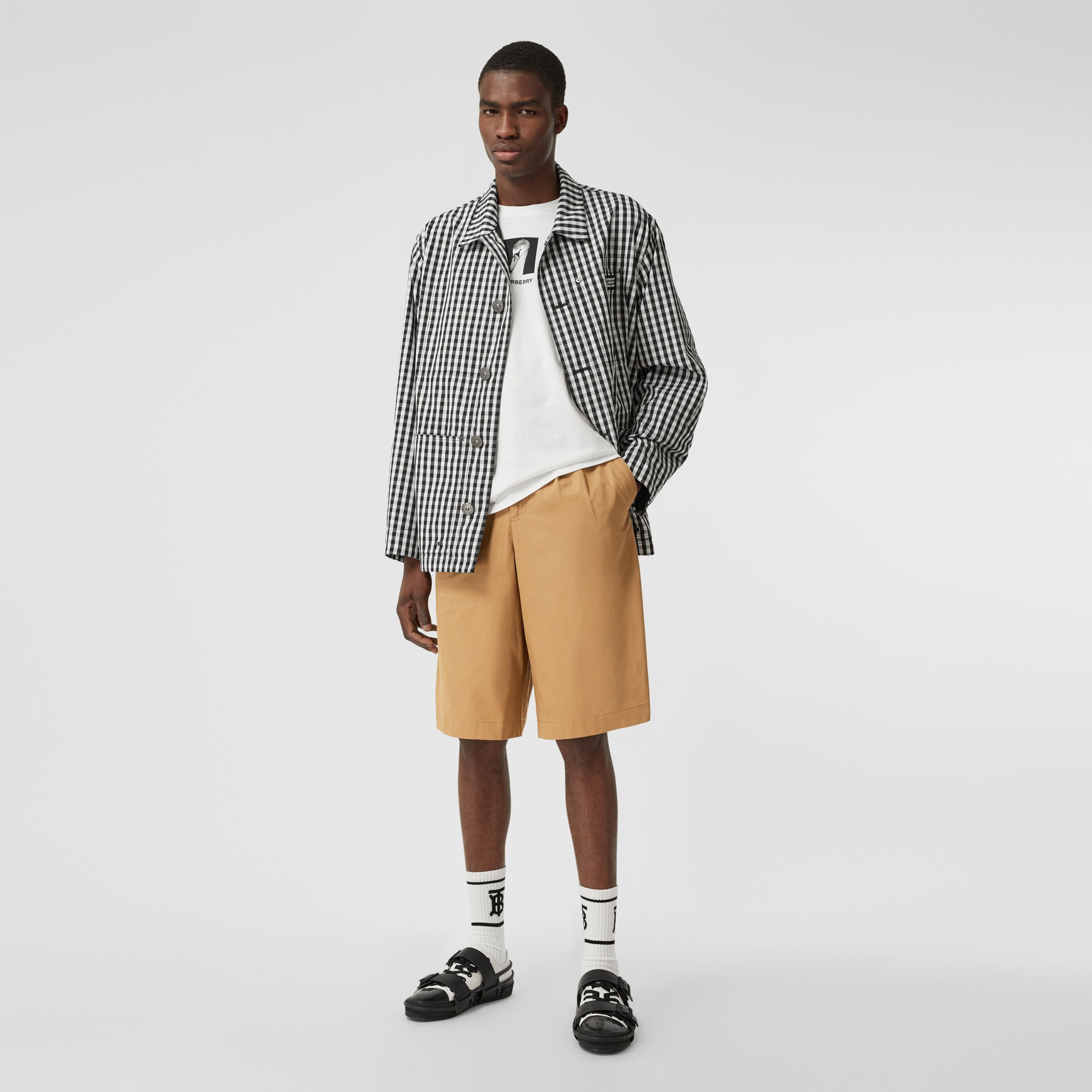 Icon Stripe Detail Cotton Twill Tailored Shorts in Camel - Men | Burberry - 1