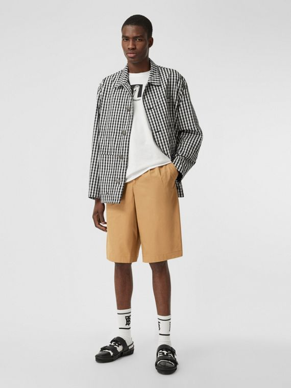 Icon Stripe Detail Cotton Twill Tailored Shorts in Camel
