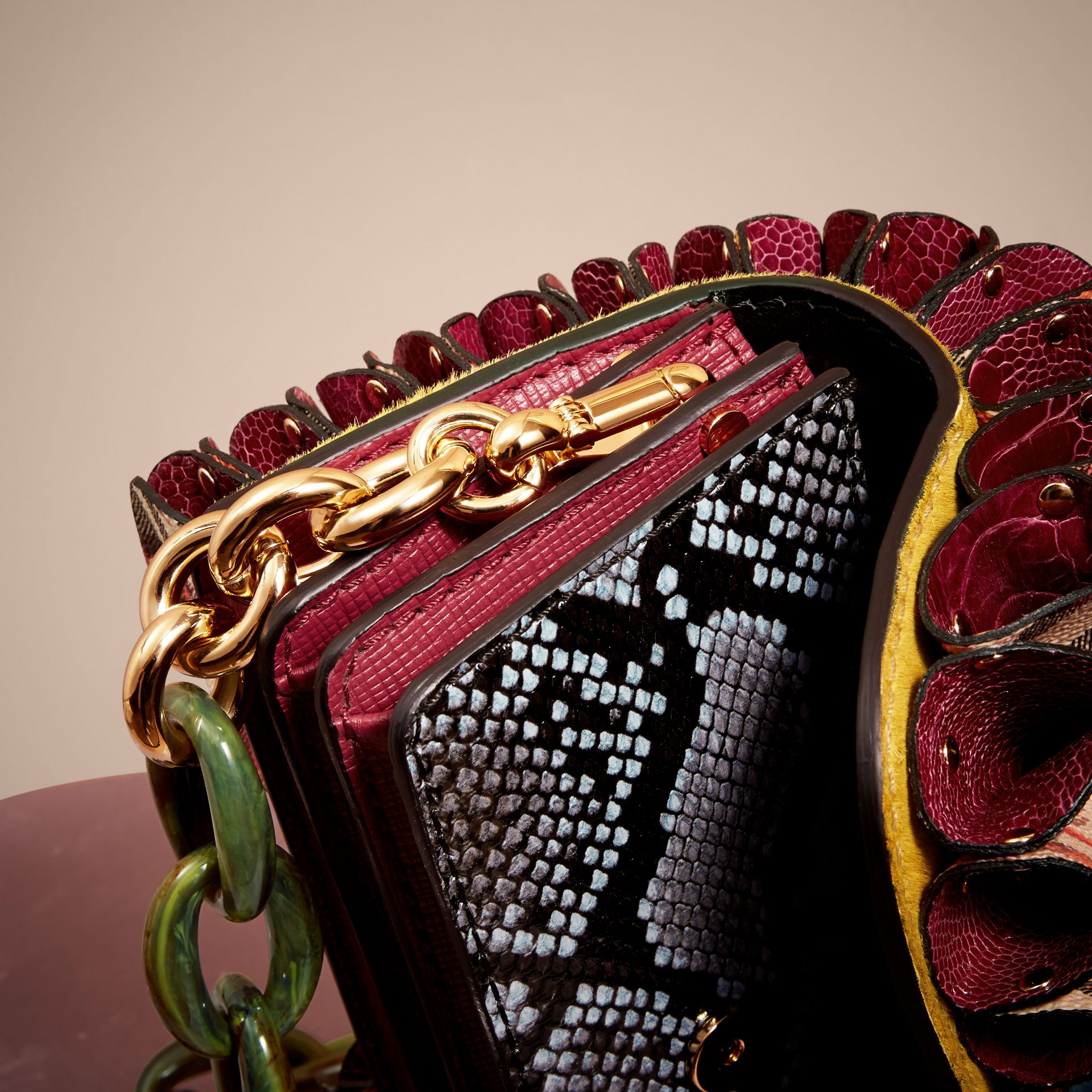 The Ruffle Buckle Bag in Snakeskin, Ostrich and Check in Larch Yellow - gallery image 6