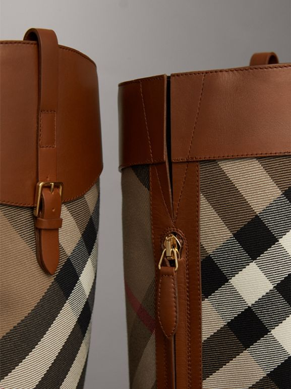 House Check and Leather Riding Boots in Chestnut | Burberry United States - cell image 1