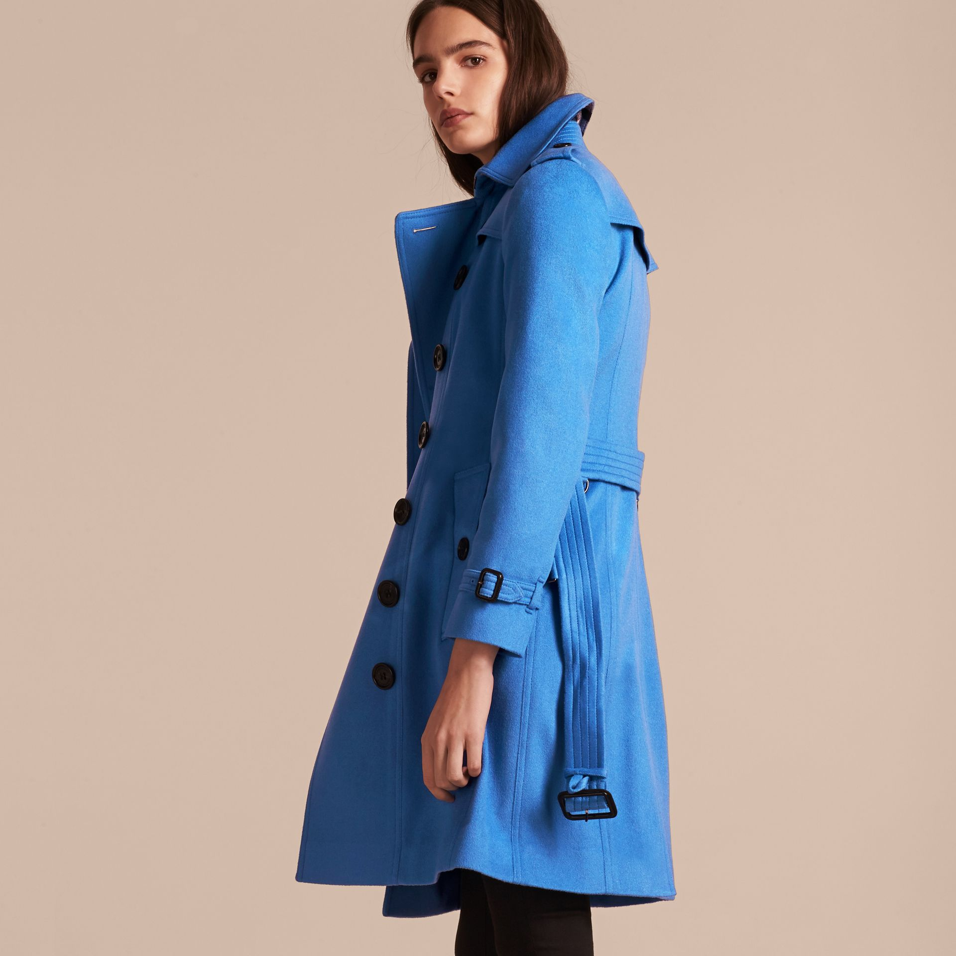Cornflower Sandringham Fit Cashmere Trench Coat Cornflower - gallery image 3