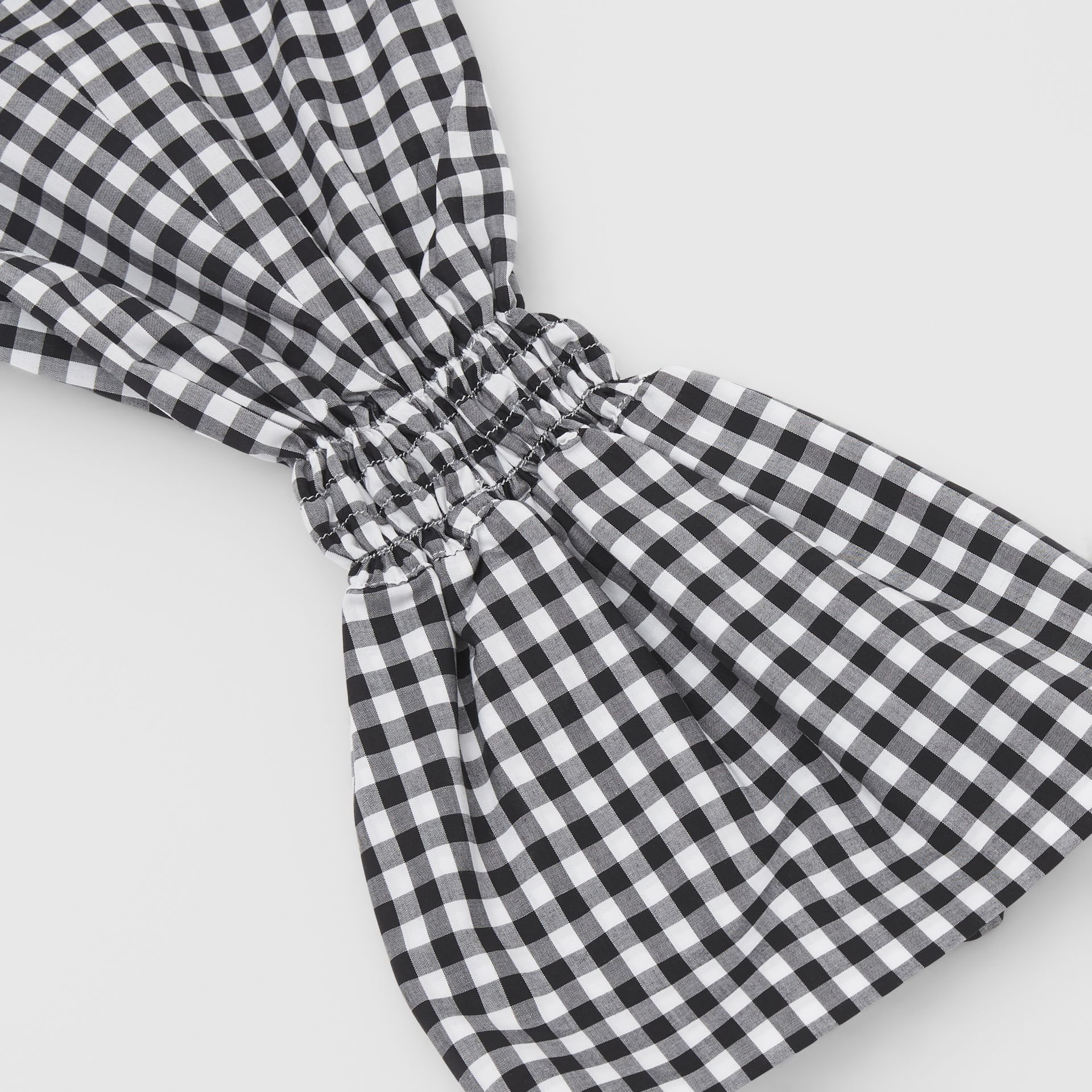 Gingham Cotton Puff Sleeves in Black - Women | Burberry United Kingdom - gallery image 1