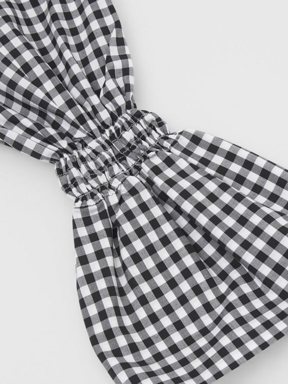 Gingham Cotton Puff Sleeves in Black - Women | Burberry - cell image 1