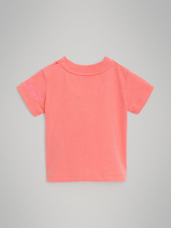 Logo Print Cotton T-shirt in Bright Pink - Children | Burberry - cell image 3