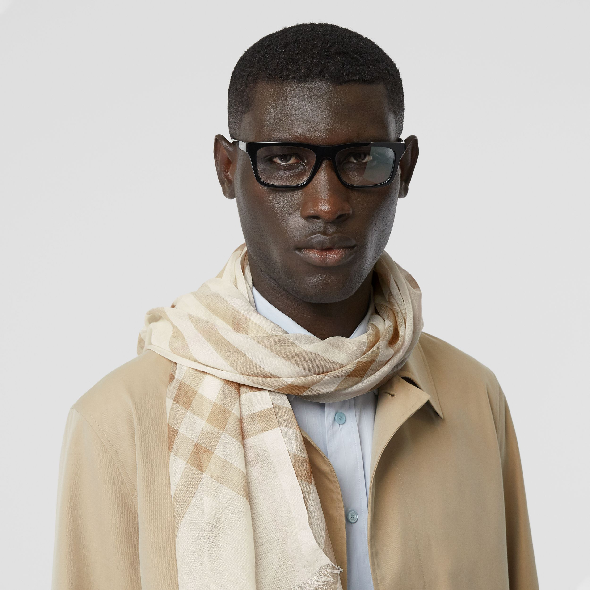 Lightweight Check Wool Silk Scarf in White/alabaster | Burberry - 4