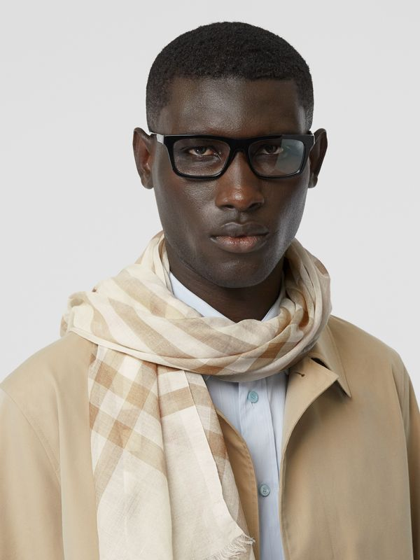 Lightweight Check Wool Silk Scarf in White/alabaster | Burberry - cell image 3