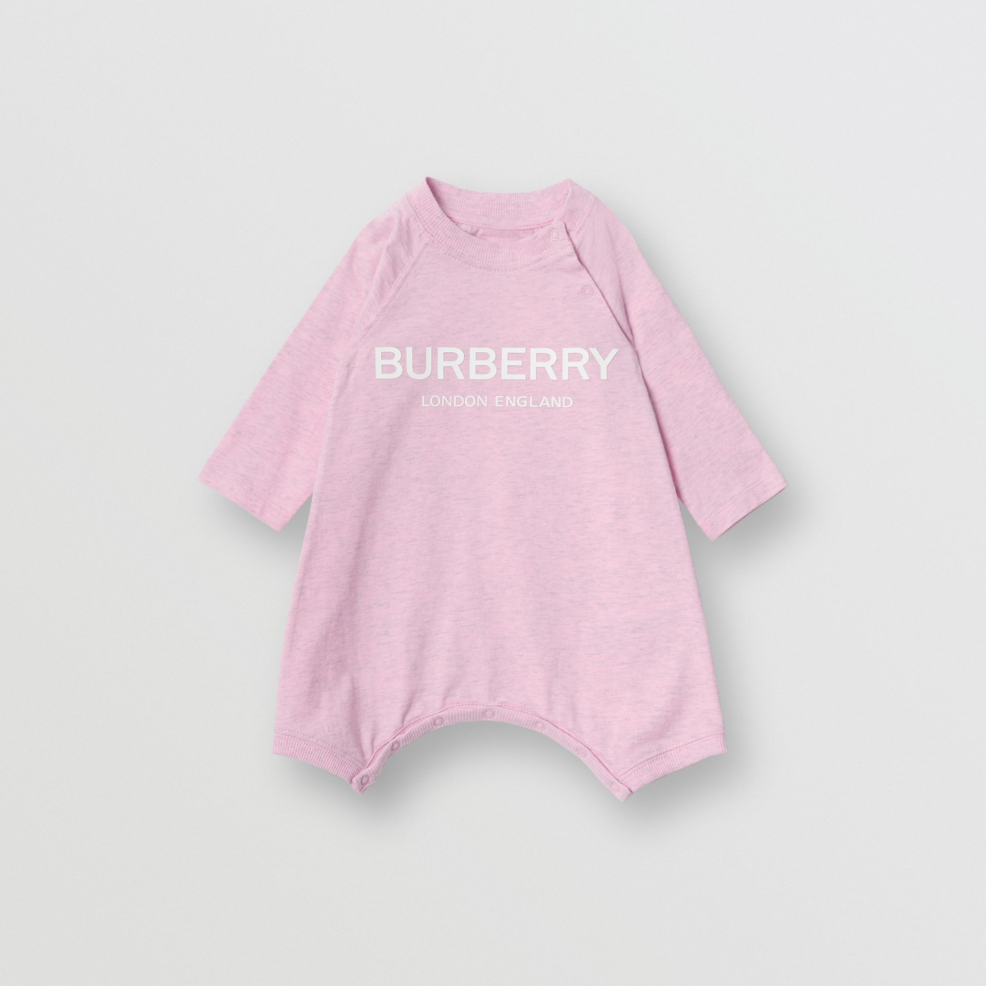 Logo Print Cotton Three-piece Baby Gift Set in Pale Pink - Children | Burberry Singapore - gallery image 2