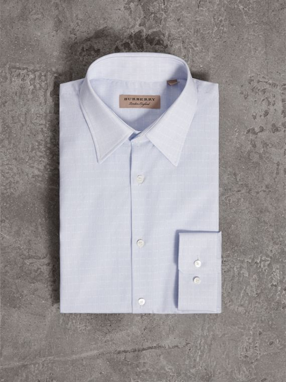 Modern Fit Geometric Dobby Cotton Shirt in Pale Blue - Men | Burberry - cell image 3