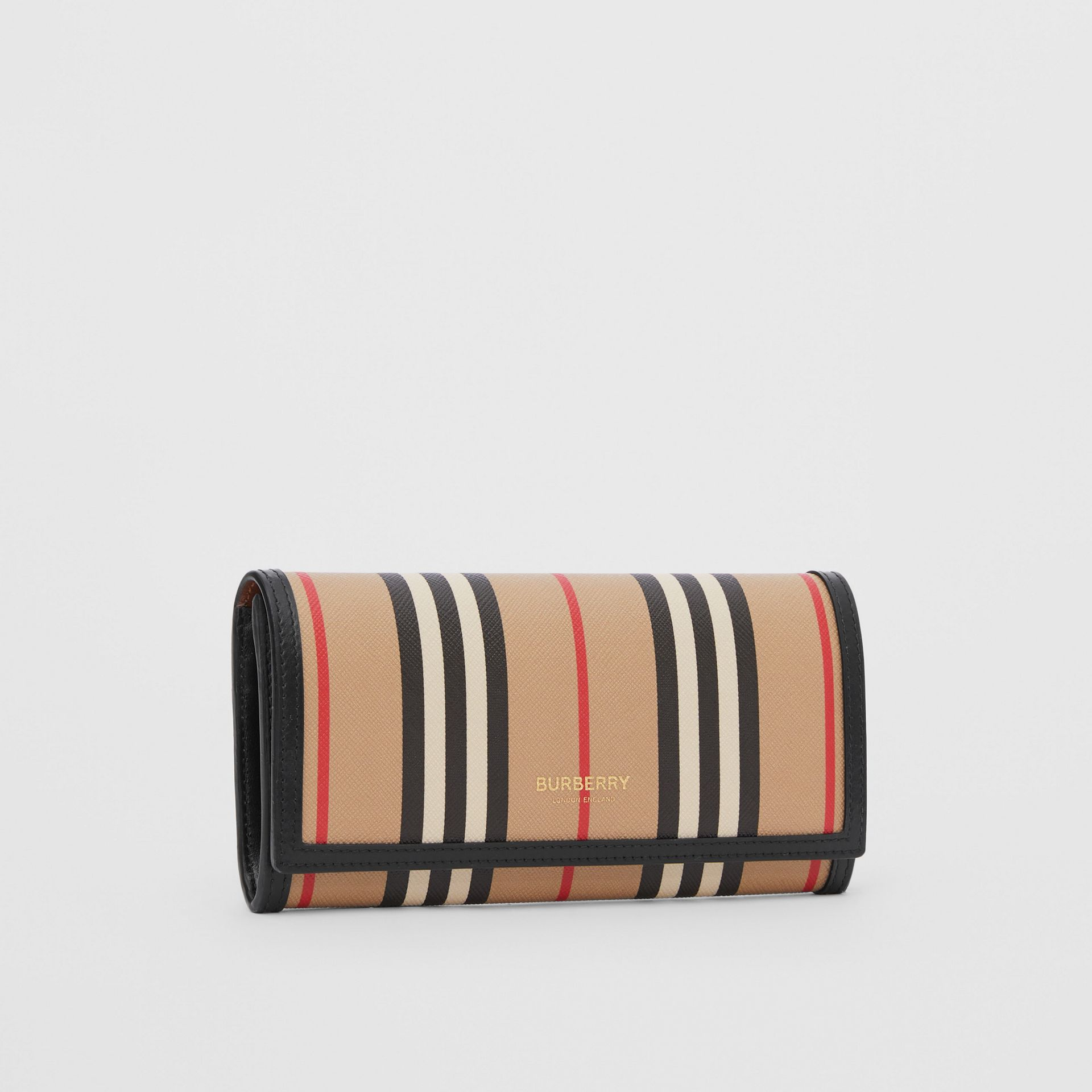 Icon Stripe E-canvas Continental Wallet in Archive Beige - Women | Burberry - gallery image 3