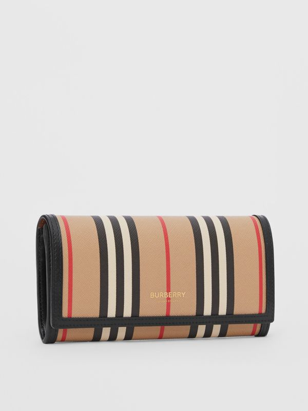 Icon Stripe E-canvas Continental Wallet in Archive Beige - Women | Burberry - cell image 3