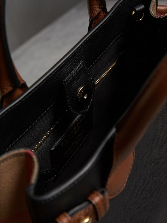 The Small Banner in Leather and House Check in Black/tan - Women | Burberry Singapore - cell image 3