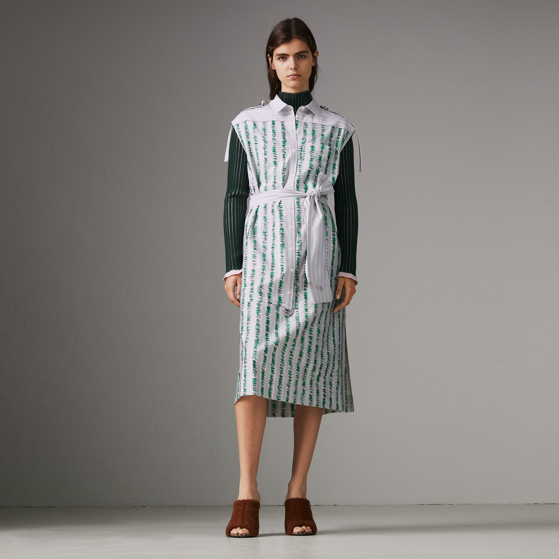Scribble Stripe Cotton Shirt Dress in Bright Navy - Women | Burberry - gallery image 0
