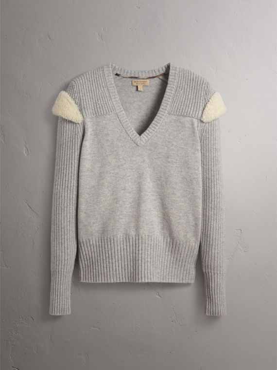 Shearling Trim Ribbed Wool Cashmere Sweater in Pale Grey Melange - Women | Burberry - cell image 3
