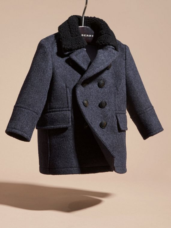 Navy Wool Cashmere Blend Pea Coat - cell image 2