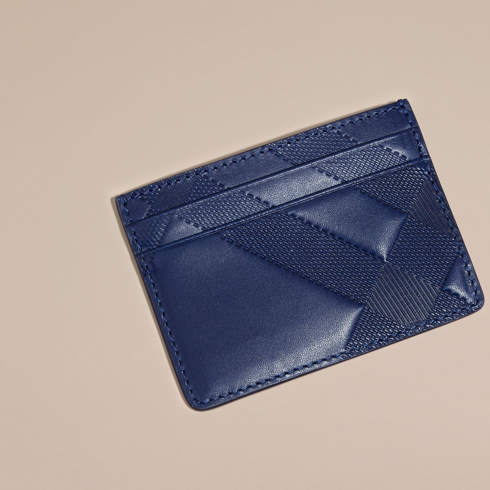 Lapis blue Check Embossed Leather Card Case Lapis Blue - gallery image 3