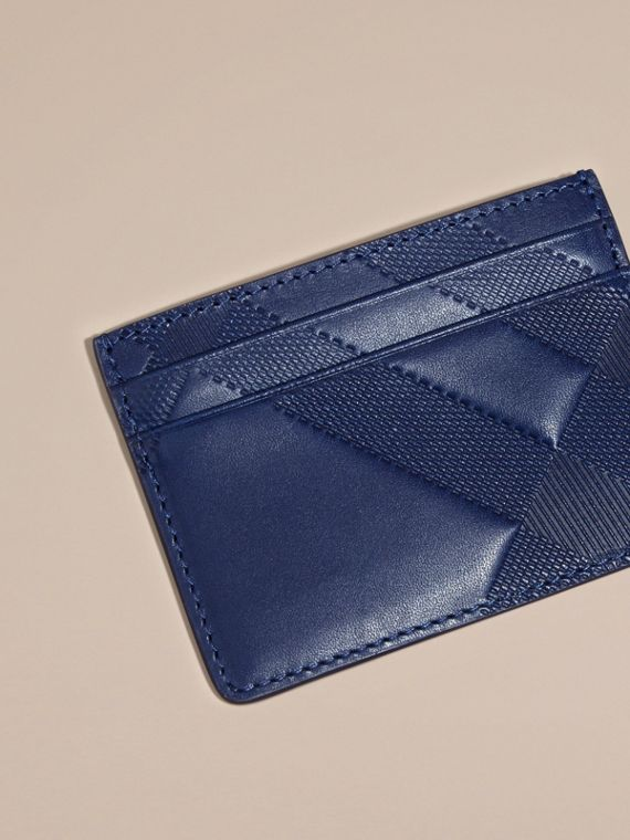 Lapis blue Check Embossed Leather Card Case Lapis Blue - cell image 2