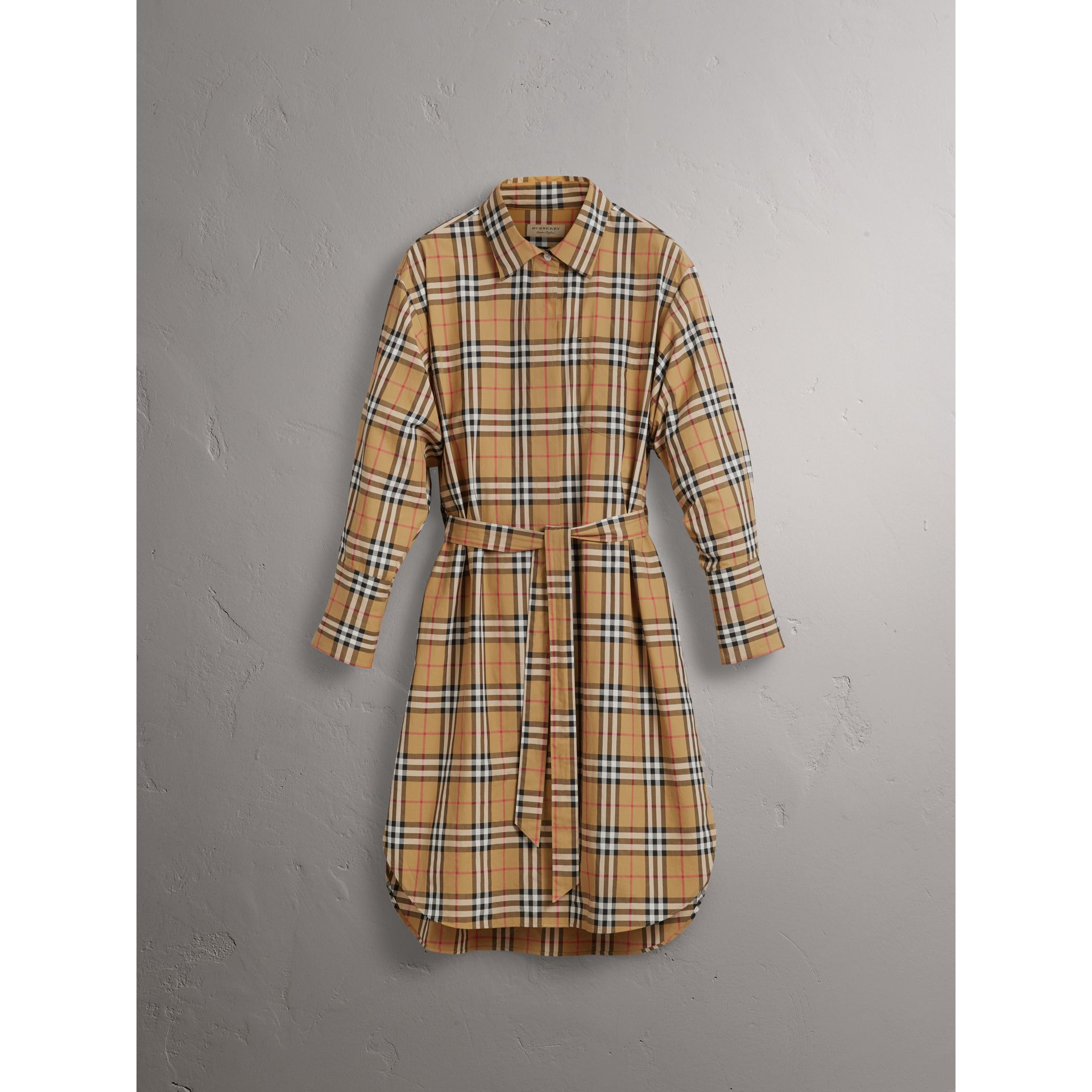 Tie-waist Vintage Check Cotton Shirt Dress in Antique Yellow - Women | Burberry Singapore - gallery image 3