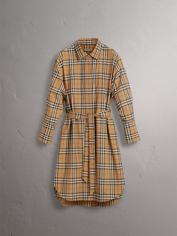 Tie-waist Vintage Check Cotton Shirt Dress in Antique Yellow - Women | Burberry - cell image 3