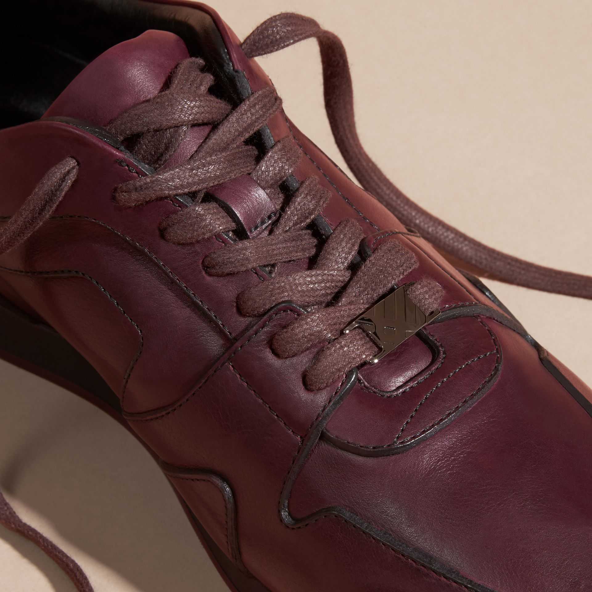 Elderberry The Field Sneaker in Leather Elderberry - gallery image 2