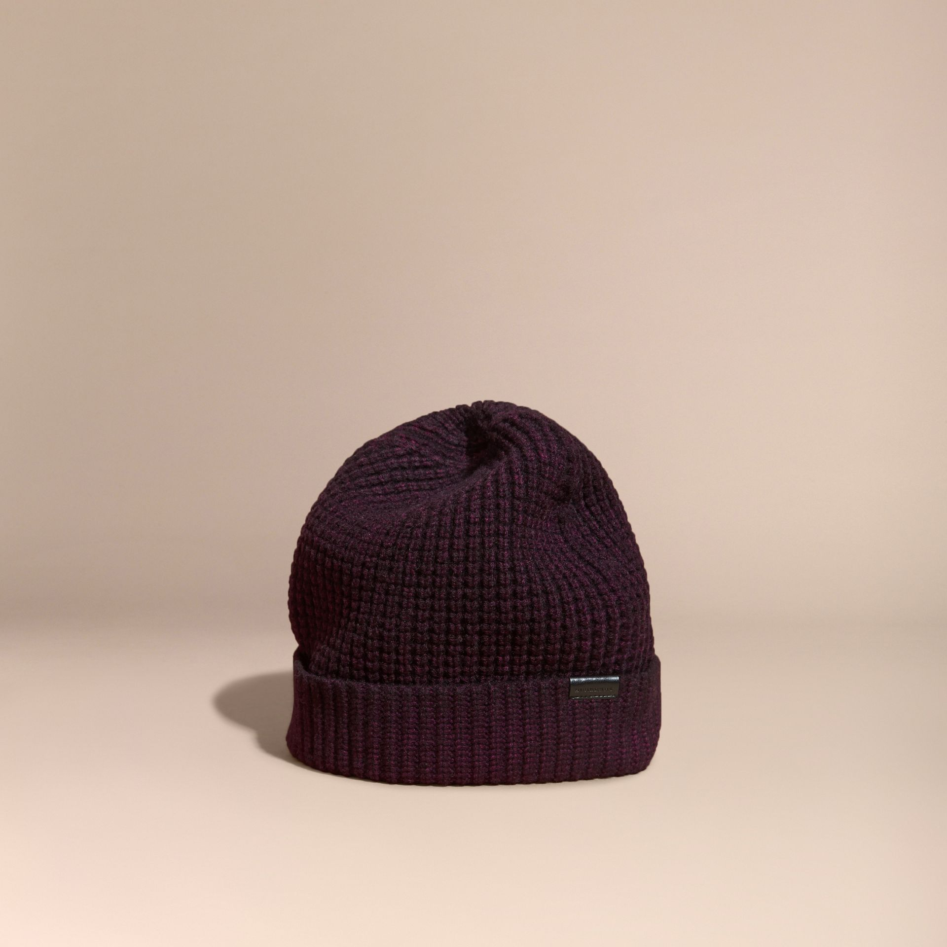 Waffle Knit Wool Cashmere Beanie - gallery image 1