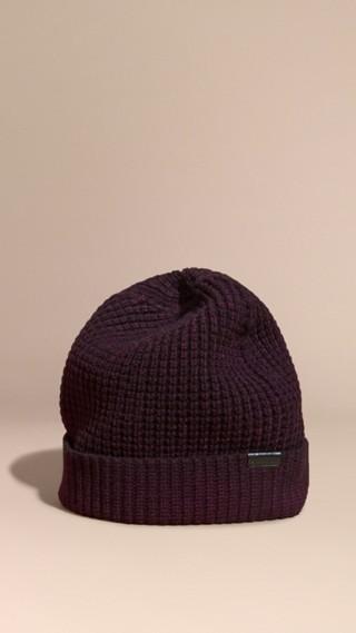 Waffle Knit Wool Cashmere Beanie