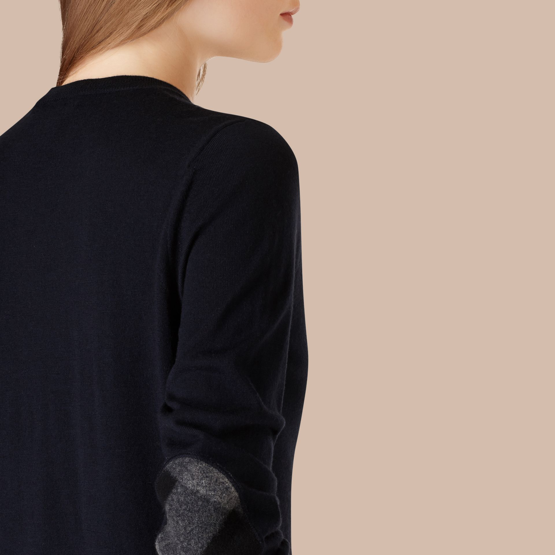Check Detail Merino Wool Crew Neck Sweater in Navy - gallery image 4