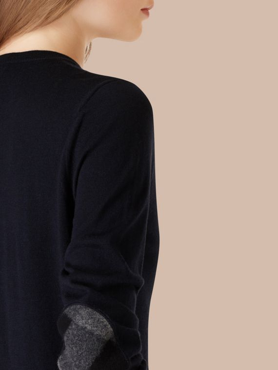 Check Detail Merino Wool Crew Neck Sweater in Navy - cell image 3