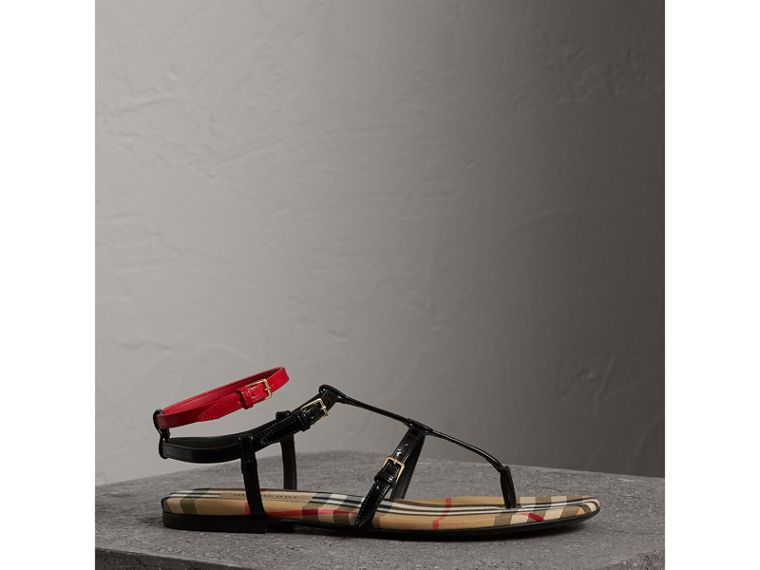 Vintage Check and Leather Sandals in Black - Women | Burberry - cell image 4