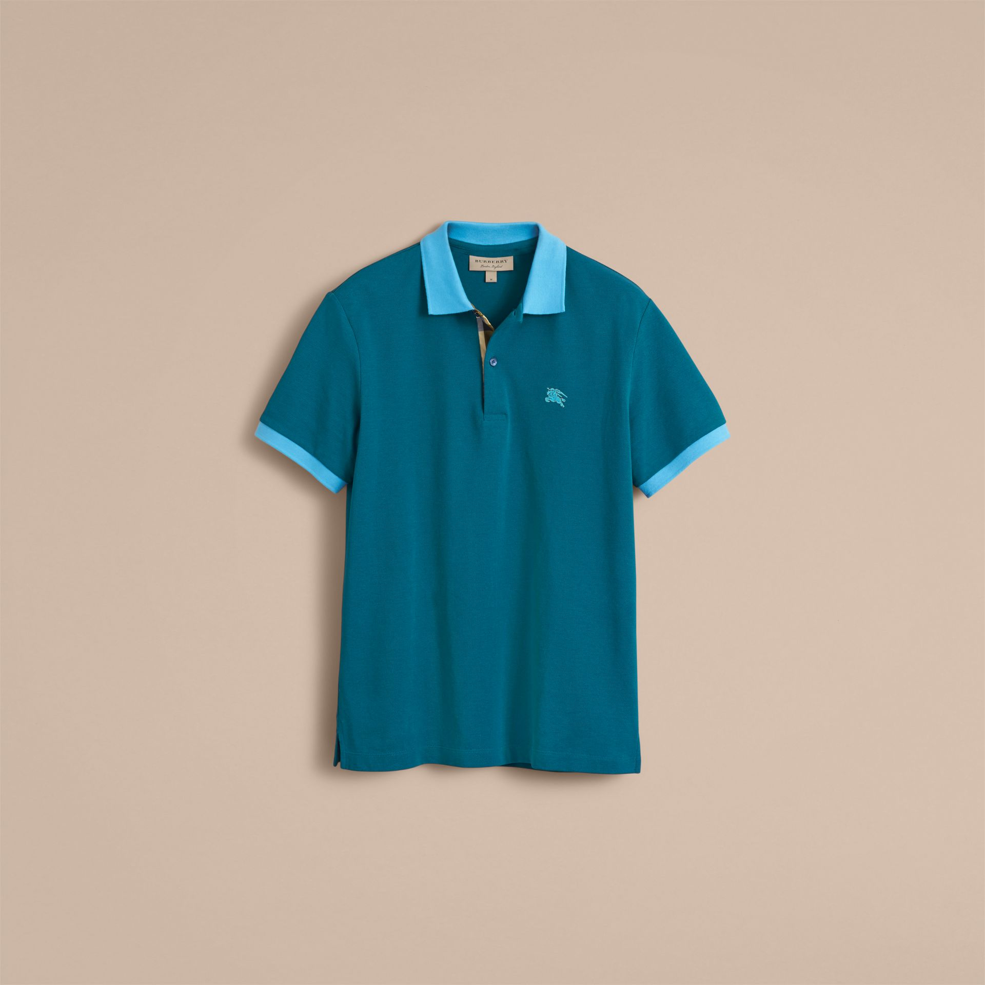Two-tone Check Placket Cotton Piqué Polo Shirt in Mineral Blue - gallery image 4