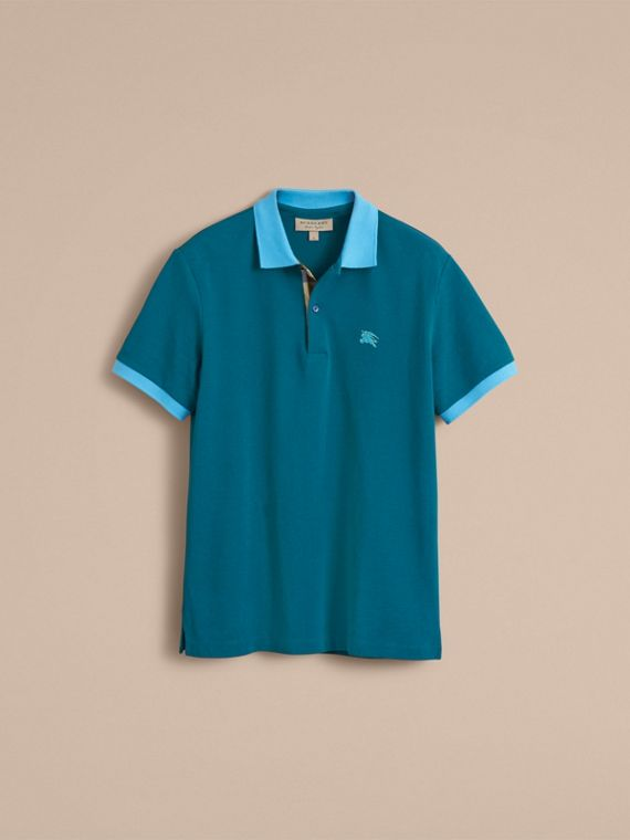 Two-tone Check Placket Cotton Piqué Polo Shirt in Mineral Blue - cell image 3