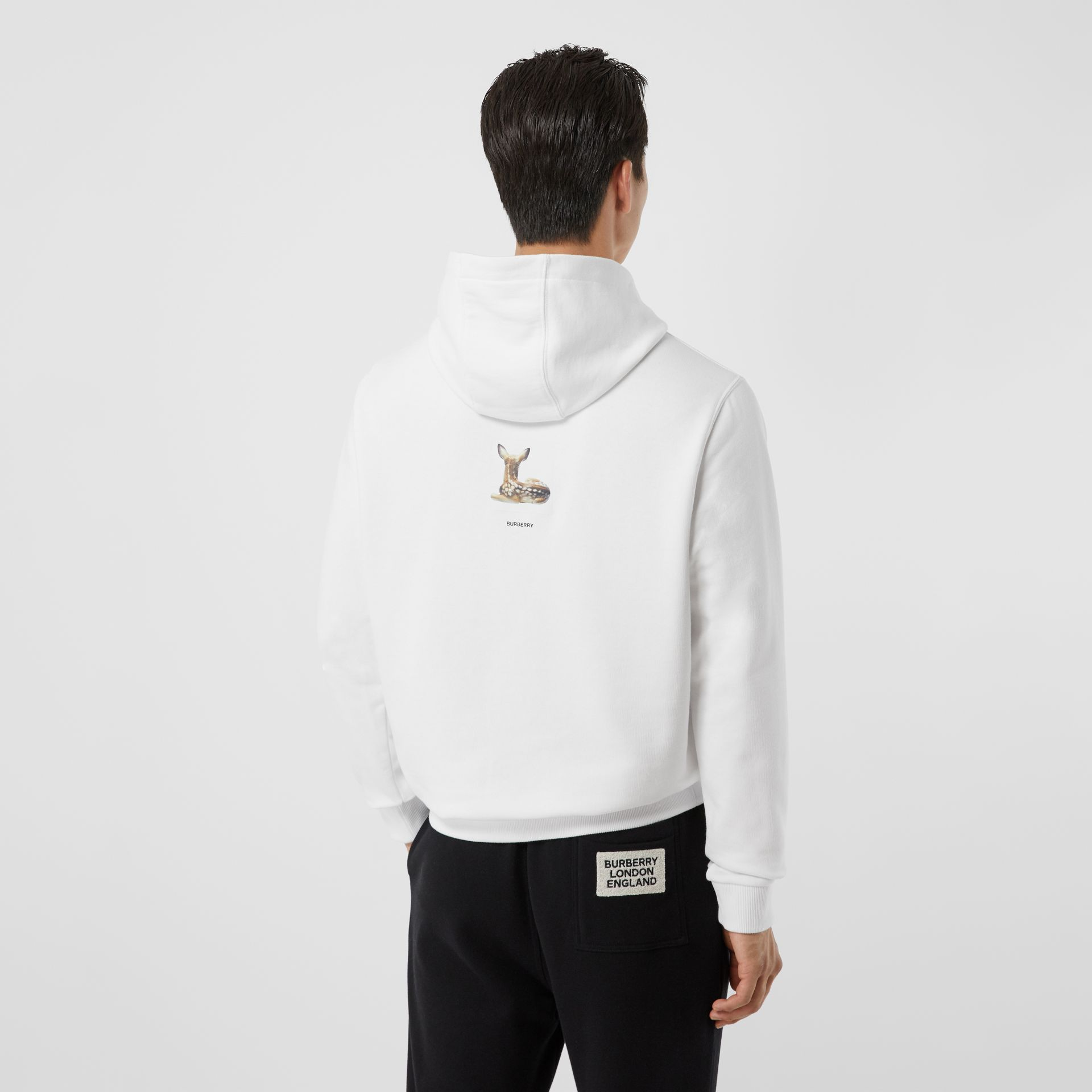 Deer Print Cotton Hoodie in White - Men | Burberry - gallery image 2