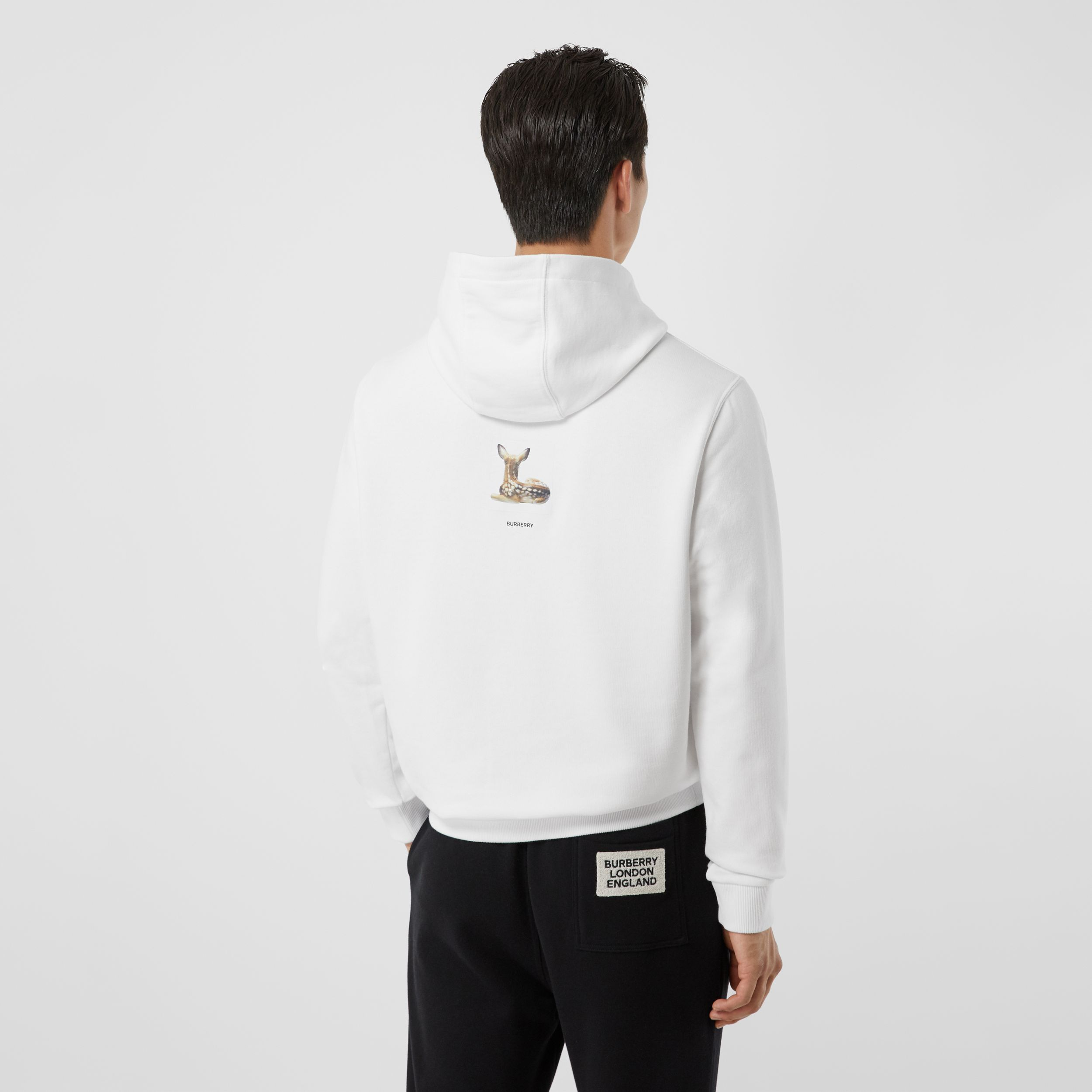 Deer Print Cotton Hoodie in White - Men | Burberry - 3