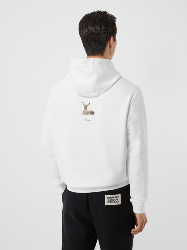 Deer Print Cotton Hoodie in White - Men | Burberry Singapore - cell image 2