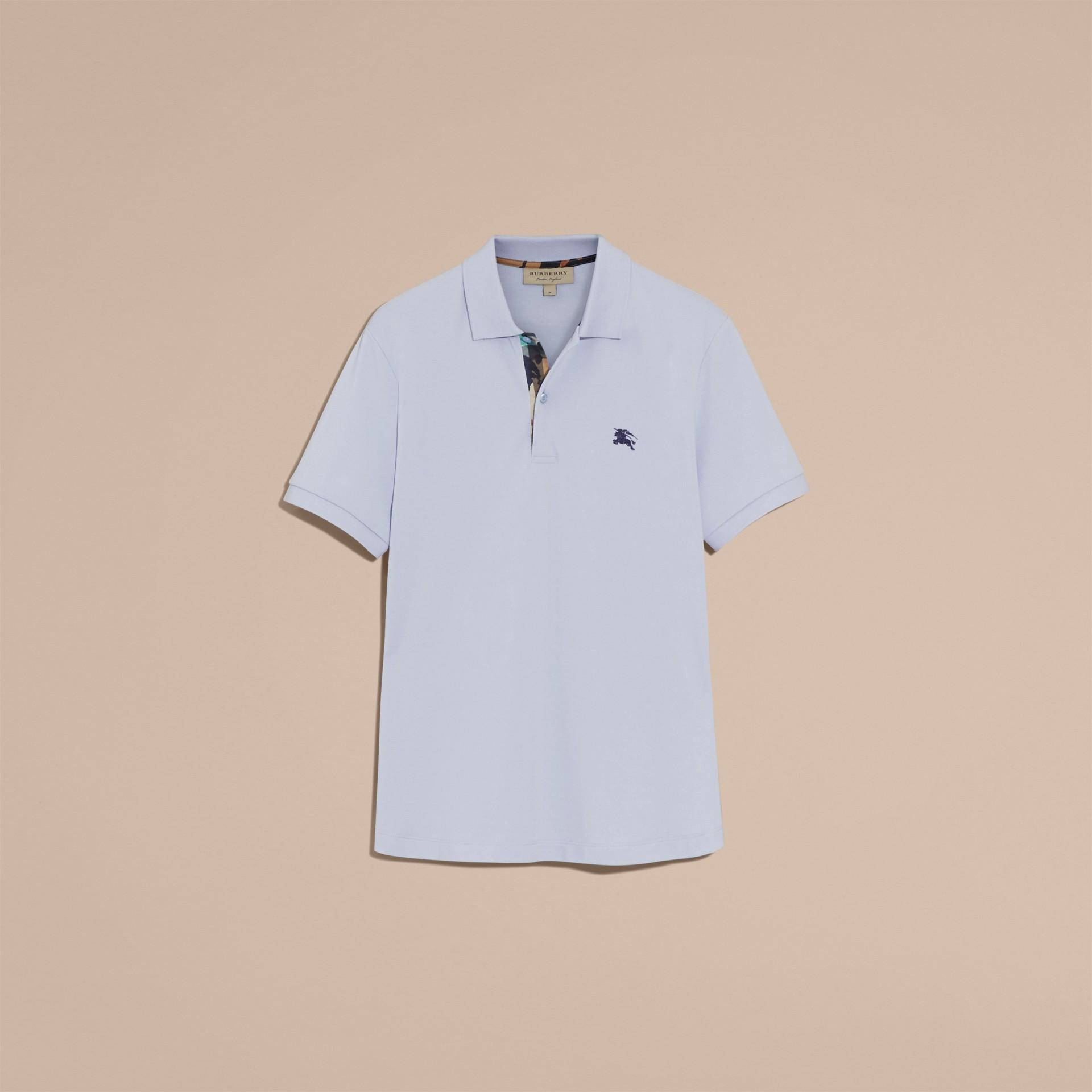 Printed Check Placket Cotton Piqué Polo Shirt - gallery image 4