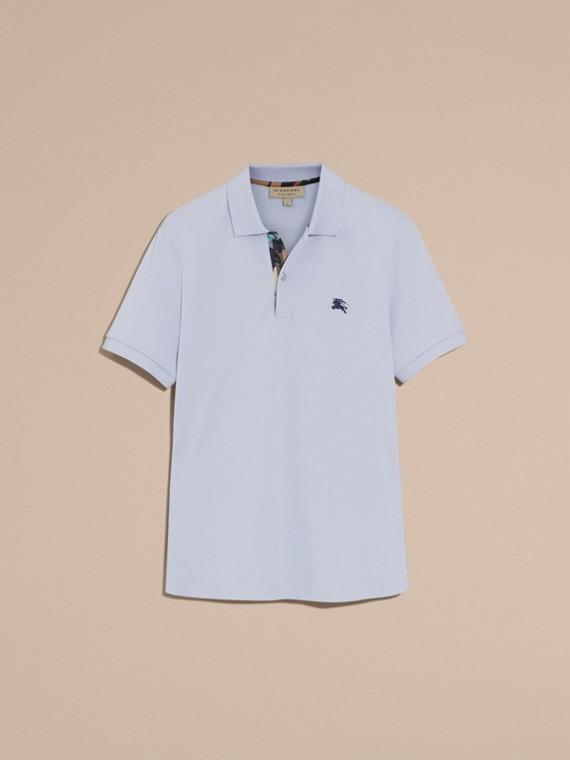Printed Check Placket Cotton Piqué Polo Shirt - cell image 3