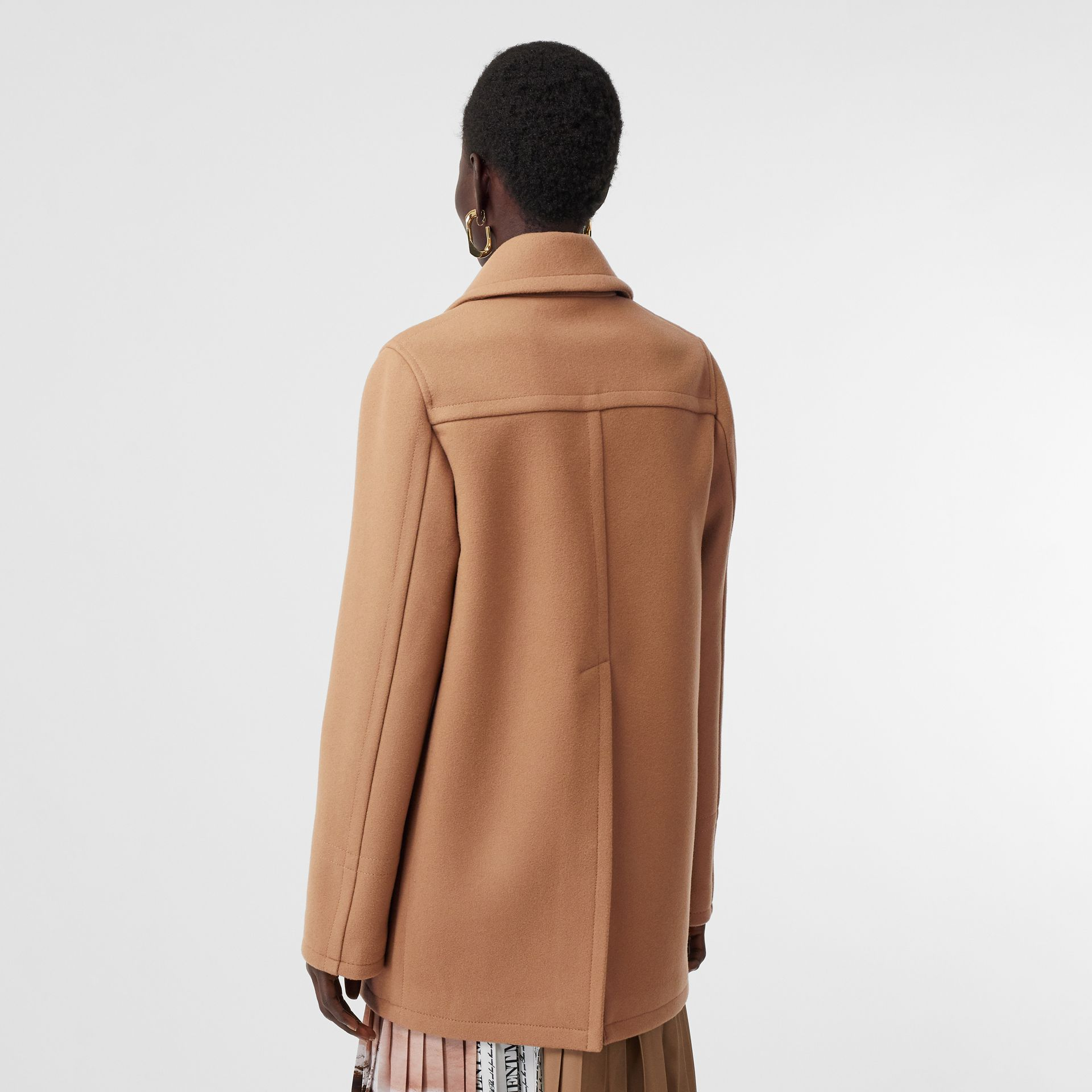 Lambskin Pocket Wool Blend Pea Coat in Camel - Women | Burberry - gallery image 2