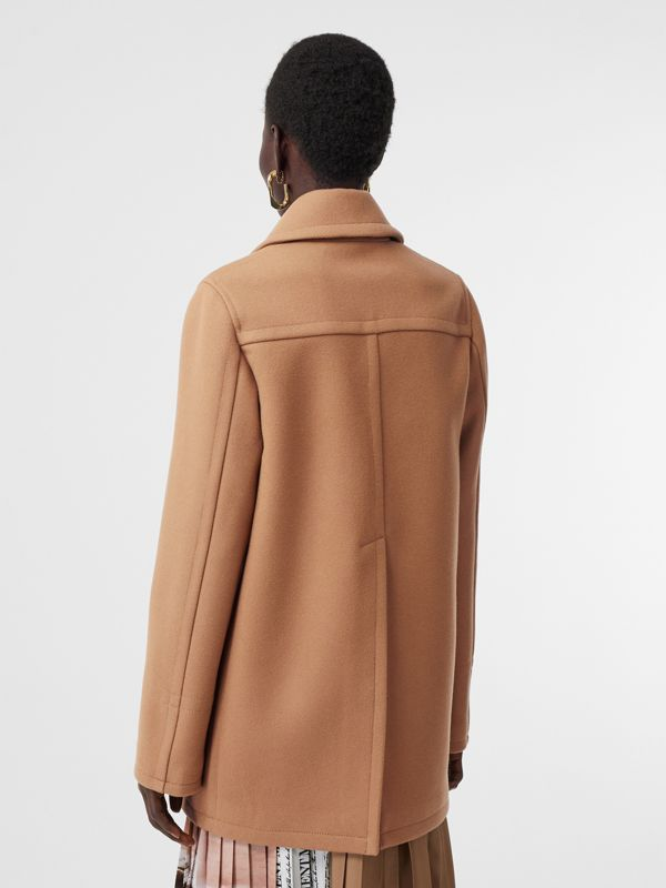 Lambskin Pocket Wool Blend Pea Coat in Camel - Women | Burberry United States - cell image 2