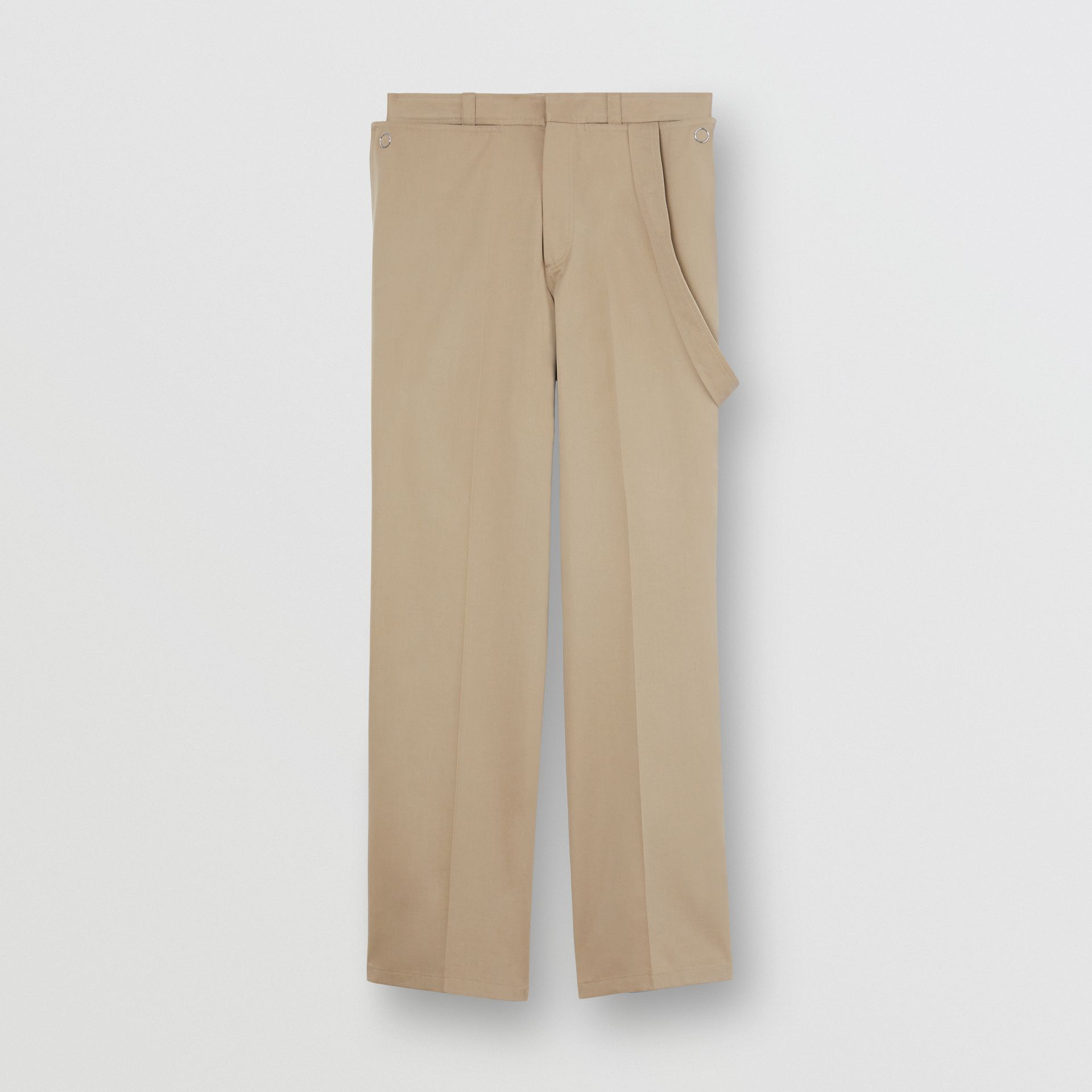 Strap Detail Cotton Trousers in Desert | Burberry - gallery image 0